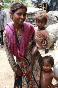 Mother with children in India
