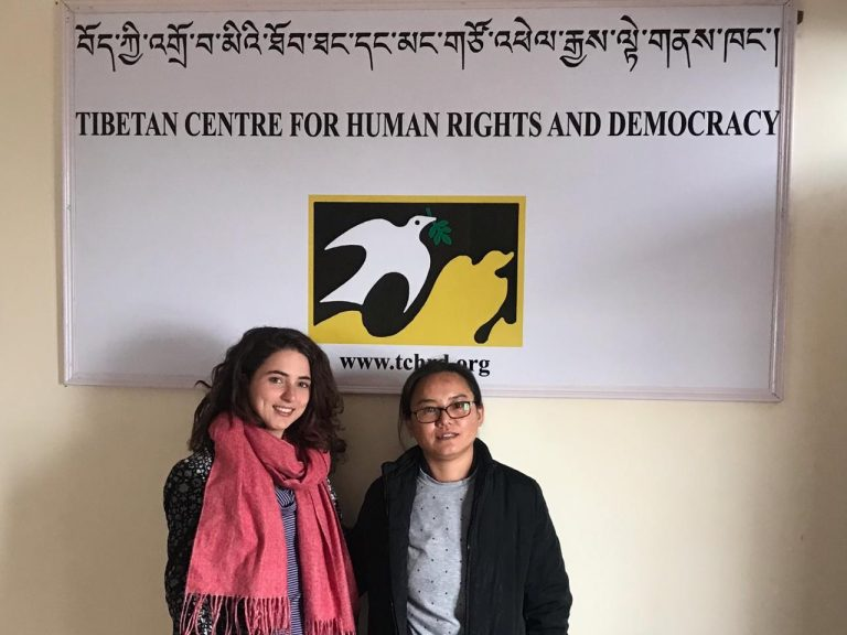 two women in front of tibetan centre
